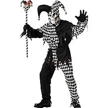 California Costumes - Disfraz De Bufón Malvado/Joker Blanco Nnegro Vestido Para Hombre Talla S