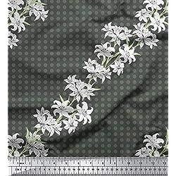 Soimoi Gris rayo de crepé Tela azalea y lunares puntos tela estampada de 1 metro 46 Pulgadas de ancho