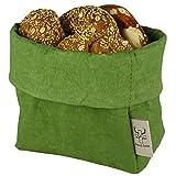 bun-di Swiss KREMPELBOX L - als Brotkorb, Obstkorb, Deko-Übertopf, Utensilo, Aufbewahrungskorb, Geschenkbox - Waschbares Papier mit Lederoptik/Veganes Leder - ca. 15cm Ø (Olive)