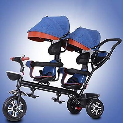Relubby Triciclo Cochecito para Niños Pequeños Y Bebés, Carro Asiento Giratorio, Cesta De Almacenamiento Gran Tamaño Ultraligero Cinturón Seguridad Niños Niñas Bicicleta Plegable