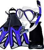 Aquazon Schnorchelset MARLIN, Schnorchelbrille, Schnorchel, Flossen für Erwachsene, Grösse 42-45