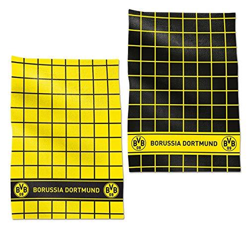 Borussia Dortmund BVB Geschirrhandtuch Set, Baumwolle, Schwarz/gelb, 50 x 70 x 1 cm