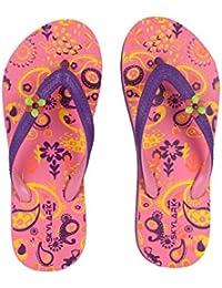 Skylark Women's FLY & Glossom Series Black & Pink Flowers Printed Anti Slippery Flip-Flops Chappal Slippers