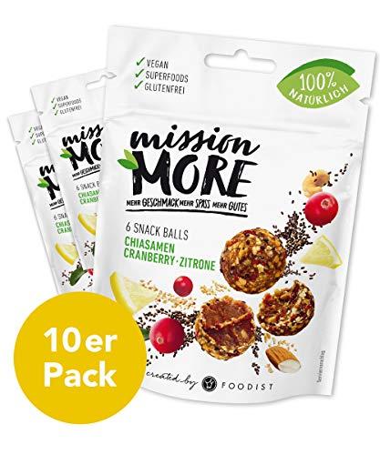 Mission More Vegan Protein Snack Bite ohne raffinierten Zucker, laktosefrei, glutenfrei - Chiasamen Cranberry-Zitrone Balls - 10 x 48g