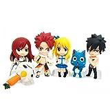 Botetrade Nette Fairy Tail 6pcs Mini Action-Figuren-Set mit Natsu Dragneel, Happy, Ezra Scarlet, Grau Fullbuster, Lucy Heartfilia und Pue