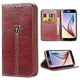 Galaxy S6 Case,S6 Flip Case, iDoer Fashion Embossed Butterfly Flip Case Slim Magnetic
