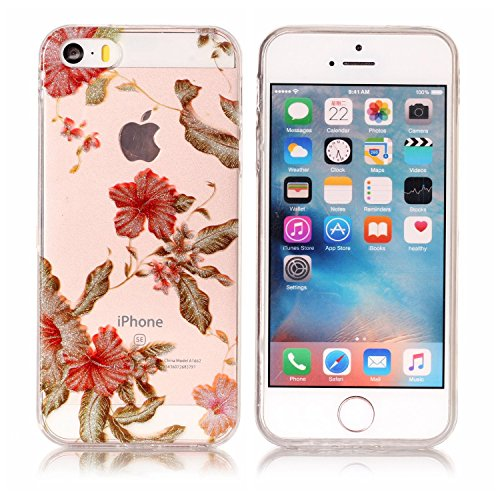 Coque iPhone 5S , Bling Glitter Transparente TPU Case Silicone Slim Souple Étui de Protection Flexible Soft Cover avec Motif Coloré pour iPhone SE Anti Choc Ultra Mince Integrale Couverture Bumper Cao Fleur