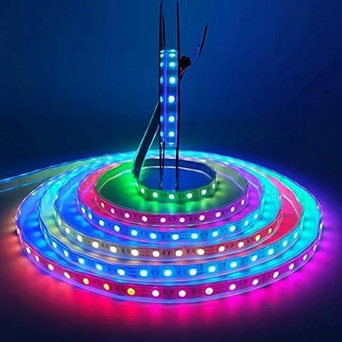 iksace LED Beleuchtung Strip 5V 5m 16,5FT SMD 5050RGB 60LED/Meter 300Pixel WS2812B IC Dream Color Light (Pack ohne Fernbedienung Controller) schwarz Black PCB IP67 (500 Pixel Weihnachten)