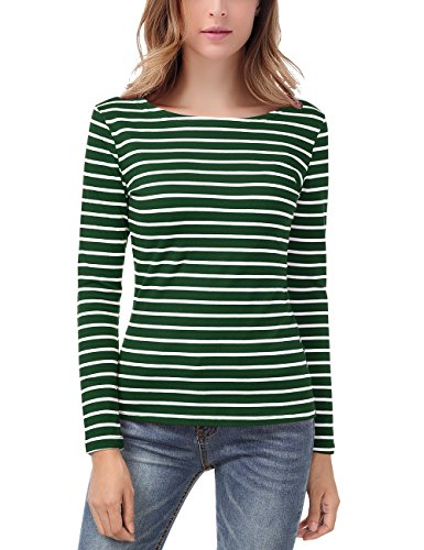 EA Selection Damen Ringel T Shirt Baumwoll Streifen Striped Marine Basic Grün&Weiß S (Damen-streifen-t-shirt)