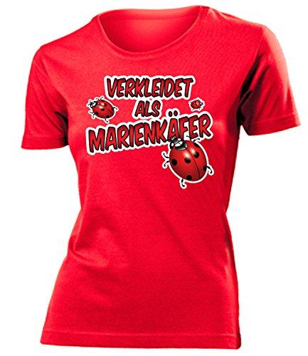 Marienkäfer 2635 Kostüm Kleidung Damen T-Shirt Frauen Karneval Fasching Faschingskostüm Karnevalskostüm Paarkostüm Gruppenkostüm Rot XL