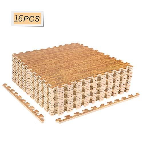 Cclife tappetini a puzzle per pavimento,60 x 60 x 1.2 cm, eva stuoia protettiva ad incastro per pavimento di palestra, colore:colore di legno, 16 pezzi