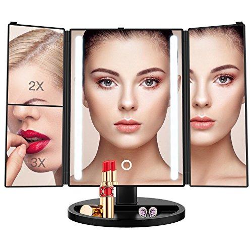 2x Spiegel Lupe (BESTOPE Schminkspiegel 1x/2x/3x Vergrößerung mit 24 Leuchtmittel Kosmetikspiegel Beleuchtet Makeup Spiegel Touchscreen, Batterie und USB-Netzteil, 180 °Einstellbare Aufsatz-Tischspiegel (Schwarz))