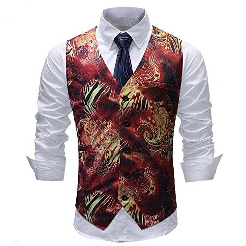 Sannysis Anzugweste Herren Herbst Winter Freizeit Bunter Druck Anzug Weste Slim Fit Elegant Weste Jacke Suits -