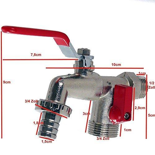 Preisvergleich Produktbild Doppelanschluss Auslaufventil Kugelhahn Auslaufkugelhahn Zapfhahn 1/2' (hahn1)