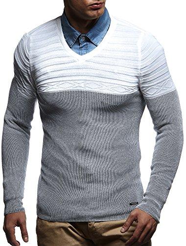 LEIF NELSON Herren Pullover Strickpullover Hoodie Basic V-Ausschnitt V-Neck Sweatshirt longsleeve langarm Sweater Feinstrick LN1555 Ecru-Schwarz