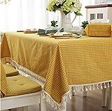 GLLCYL Nappe De Table en Pique-Nique De Style Japonais, Nappe De Style Japonais Décorée De Treillis, 100% Coton, Nappe Rectangulaire, Textile Maison, 140X180Cm, Jaune...