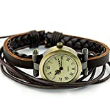 Minetom Retro Damen Damenuhr Uhr Armbanduhr Armband Armreif Weave Wrap Leder Lederarmband Quarz Armbanduhr Braun