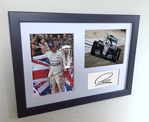 "Signed Lewis Hamilton ""2015 F1 CHAMPIONSHIP CELEBRATION"" Autographed Photograph Photo Picture Frame Memorabilia Motor Sport A4"