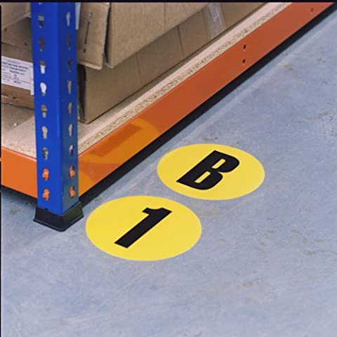 High Visibility Permanent Self-Adhesive Identification Markers - Number 2 - Yellow & Black - 190mm Diameter