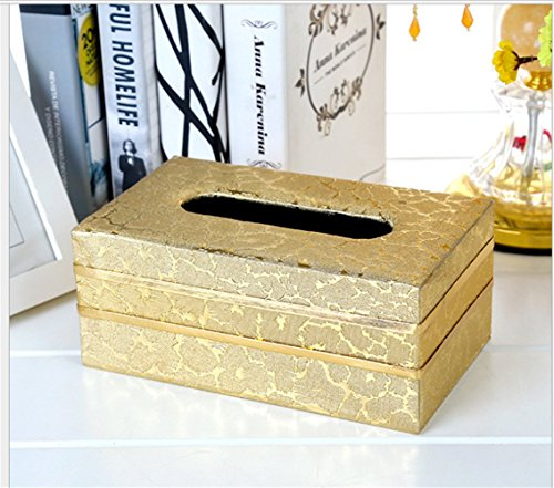 rechteckig Leder Tissue Box Cover Halter, passgenau Büro Küche Auto Bad Living, gold, 20 x 12 x8.5 cm