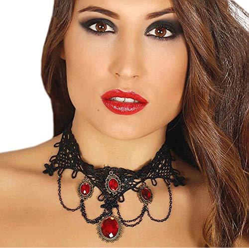 Schwarze Häkelspitzenkette mit Roten Steinen Rot Gold Collier Halloween Karneval Fasching Kirche Gothic Tod