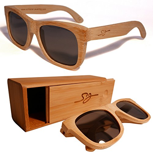 SJWood Holz Sonnenbrille Bambus - Hochwertige Natur Holzsonnenbrille & Bambusholz Brillenetui 100%...