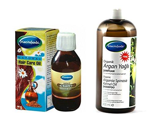 mecite Fendi Shampooing à l'huile d'argan 400 ml plus mecite Fendi Huile naturelle soins des cheveux 100 ml (Pointe contre cheveux secs)