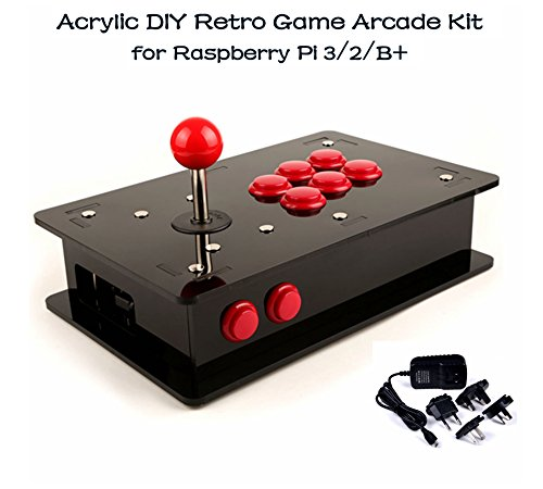 Acrylic DIY Retro Game Arcade Kit, for Raspberry Pi 3/2/B+.