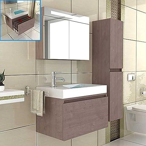 Waschbecken / Unterschrank / Badezimmer Möbel / Waschplatz / Modell Lugano-800 / Badmöbel / Farbe Braun