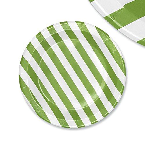 EinsSein 48x Pappteller Papierteller Stripes 23cm weiß-hellgrün Papiergeschirr Pappgeschirr Bunte Papierteller Wegwerfteller Becher Strohhalme Servietten (Pappteller Hellgrün)