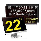 C1st 22 Zoll 16:10 Displayfilter Anti-Peeping Blickschutzfilter Sichtschutz Sichtschutzfolie 18,7x11,69zoll/475x297mm Strahlenschutz Blendschutz Computer Bildschirm Displayschutz