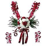FLAMEER Kit De Décoration pour Voiture De Mariage, Couronne De Fleurs, Ruban, Guirlande, Or/Vert / Bourgogne - Rouge