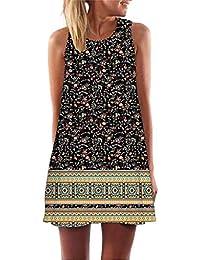 84da3892064 Toamen Womens Boho Dress Sale Ladies Vintage Summer Sleeveless 3D Floral  Print Beach Short Mini Tank