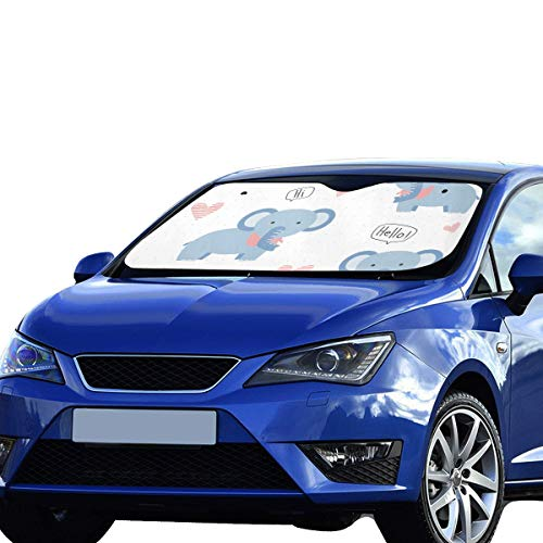 Parasol para Coche Parabrisas SUV Azul Elefante Nariz Larga Visera Solar Ajuste Universal Mantener el vehículo Fresco Reflector de Calor Sedanes SUV Camión 55'x30 Parasol de Coche para Parabrisas