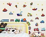 ufengke® Veicoli Del Fumetto Treni Navi e Aerei Adesivi Murali, Camera dei Bambini Vivai Adesivi da Parete Removibili/Stickers Murali/Decorazione Murale