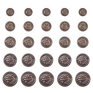 PandaHall Elite 50 Pcs Vintage Anchor Buttons, Brass Snap Buttons,Jeans Buttons Buttons Replacement Kits,Antique Bronze, 15~25mm, Hole: 2mm