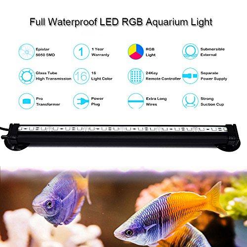 Neverland 42cm 24 LED 4.5W Aquarium Bubble Beleuchtung LED Lichtleiste Tageslichtsimulator Wasserfest Led Blase Licht Bar + 24 Tasten RC Fernbedienung Für Aquarium mit EU Stecker - 2