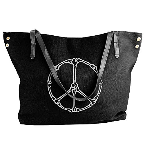 sghshsgh Umhängetaschen,Damenhandtaschen, Women's Halloween Bones Peace-1 Canvas Shoulder Bag Handbags Tote Bag Casual Travel Bags