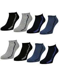 8 oder 12 Paar Herren Sport Sneaker Socken Baumwolle Schwarz Blau Grau - 16777 - sockenkauf24