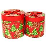 com-four® 2X Deko Geschenkbox aus Pappe in rot, große und Kleine Papp-Schachteln mit Deckel, Runde Geschenkschachtel für Geschenke zu Weihnachten, Nikolaus und Advent (02 Stück - Rund rot)