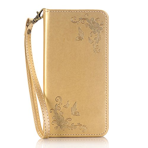 "iPhone 7 Wallet Case, iPhone 7s 4.7"" Case,Heyqie(TM)[Kickstand] Embossing Butterfly Flower PU Leather Flip Folio Wallet Case with Card Holder and Wrist Lanyard for Apple iPhone 7 7s 4.7"" - Gold Gold"