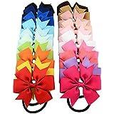 Cuhair (TM) 10pcs enfant Nœud en ruban élastique Bandes de cheveux Cravate Corde en caoutchouc Queue de cheval support pour enfants Fleurs en tissu Kid Femme Enfants Filles Accessoires Cheveux Chouchou (10)
