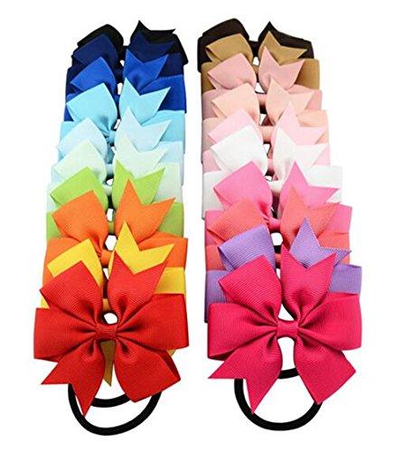 cuhair (TM) 100Kinder Schleife Elastic Hair Bands Krawatte Gummi Seil Pferdeschwanz Halter Kinder Stoff Blumen Kid Frauen Kinder Mädchen Hair Zubehör Haargummi (100) (Kinder Pferdeschwanz-halter)