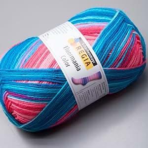 150 gr Regia Fluormania 6 ply Laine à chaussettes neon beach color 6589