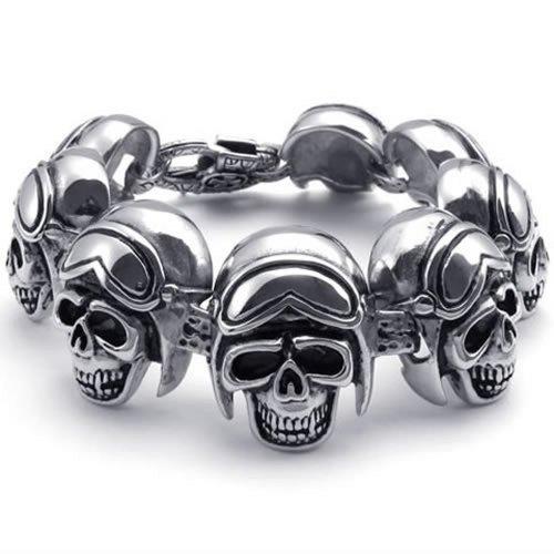 KONOV Joyería Grande Pesada Acero Inoxidable Gothic Cráneo Biker para hombre brazalete pulsera, Negro y Plata