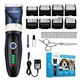 Focuspet Dog Clippers, Low Noise Dog Grooming Clippers Rechargeable Cordless Dog Trimmer Pet