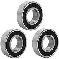 sourcingmap 3 piezas de acero inoxidable 32mmx15mmx9mm goma sellada rodamiento rígido de bolas