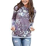 FORH Damen Neue Herbst Winter Elegant Blumen Lose Kapuzenpullover Tops Mode weich Sweatshirt pullover Bluse (XL, Lila)