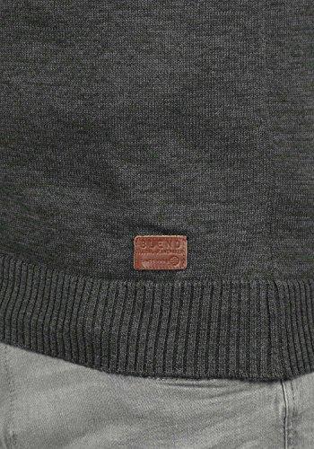 BLEND Danier Herren Strickpullover Feinstrick Pulli mit Rundhals-Ausschnitt aus hochwertiger Baumwollmischung Meliert Charcoal (70818)