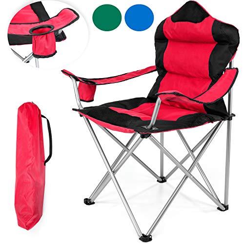 TRESKO Campingstuhl faltbar bis 150 kg   Angelstuhl Faltstuhl Klappstuhl mit Armlehnen und Getränkehalter (Rot)